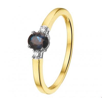 Bicolor ring met edelsteen saffier 5 mm