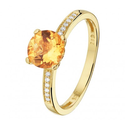 Citrien diamant edelsteen ring goud