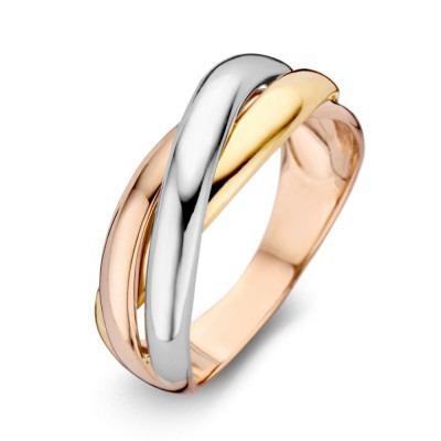 Cross-over ring met geel wit en roségoud