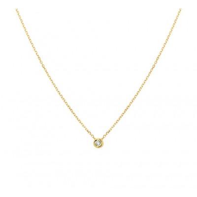 Dames edelsteen ketting met diamant 14 krt goud