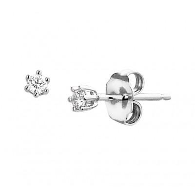 Diamanten oorbellen witgouden knopjes