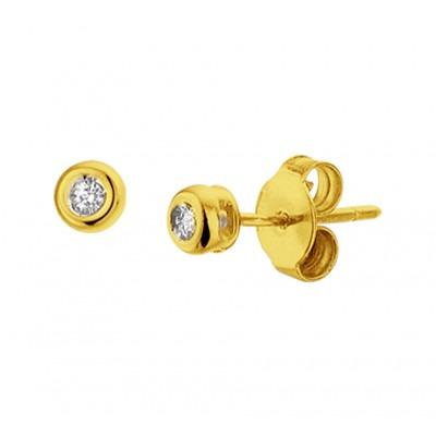 Diamanten oorknopjes goud