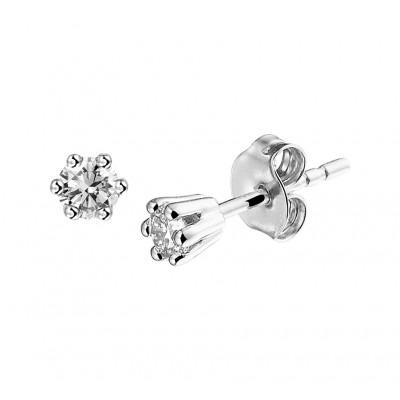 Diamanten oorknopjes witgoud