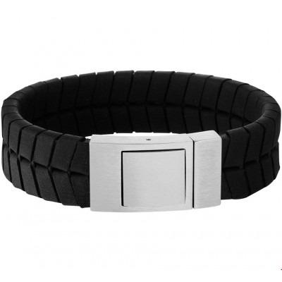 Dikke leren armband zwart voor mannen