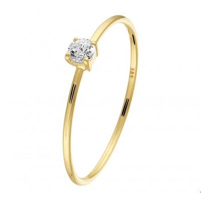 Echt 14 karaat gouden ring met zirkonia