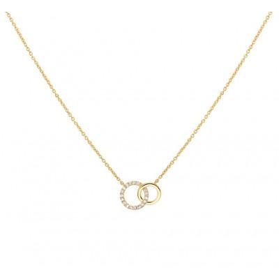 Edelsteen ketting met diamant goud