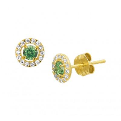 Edelsteen oorbellen van goud met smaragd en zirkonia
