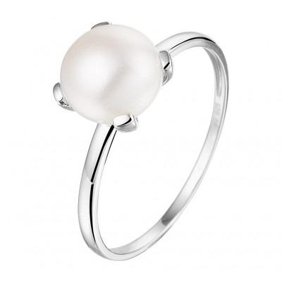 Edelsteen ring met zoetwaterparel zilver