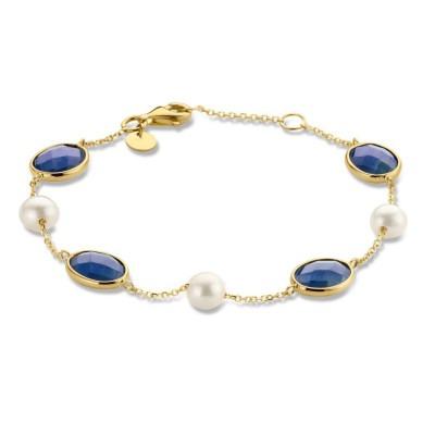 Geelgouden armband met pareltjes en jade