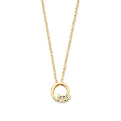 Geelgouden collier met diamantjes in rond hangertje