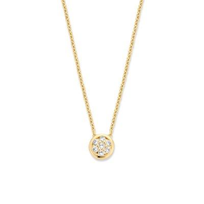 Geelgouden collier met fijne schakel en diamanthanger