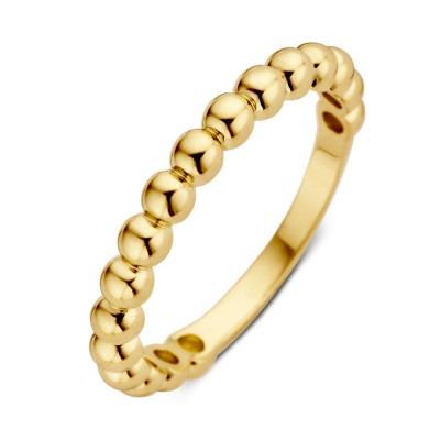 Geelgouden damesring met gouden bolletjes 3 mm