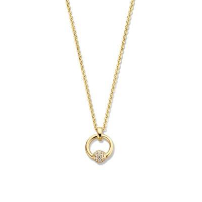 Geelgouden ketting met ronde hanger en diamantjes