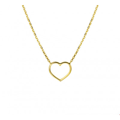 Geelgouden open hart ketting 44 cm ankerschakel