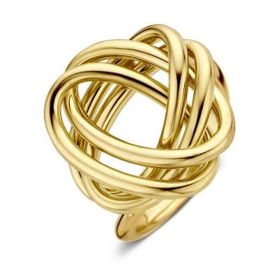 Geelgouden ring met bijzonder gevlochten ontwerp