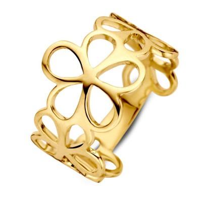 Geelgouden ring met bloemenpatroon 13 mm