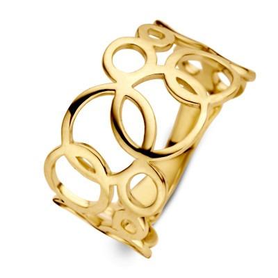 Geelgouden ring met cirkelpatroon 12 mm