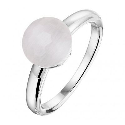 Gerhodineerd zilveren edelsteen ring met kattenoog