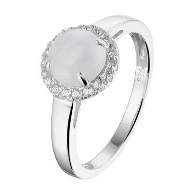Gerhodineerd zilveren ring met maansteen en zirkonia