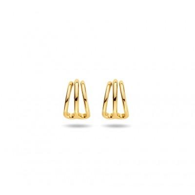 Gold plated oorbellen drie rijen