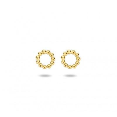 Gold plated oorknopjes met bolletjes