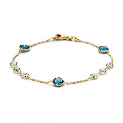 Gouden armband met blauwe topaas hangertjes