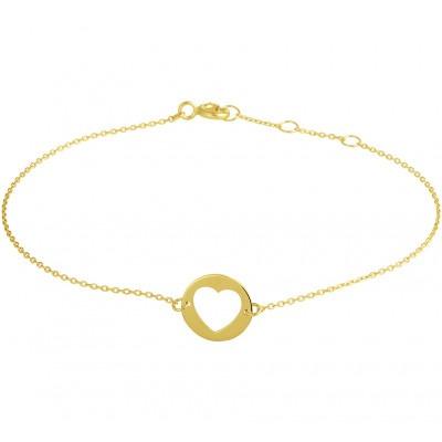 Gouden armband met hartje 10 mm