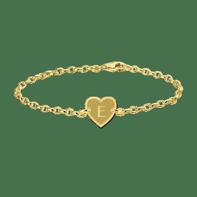 Gouden armband met letter hart Names4ever