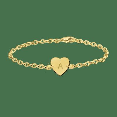 Gouden armband met letter hartje Names4ever