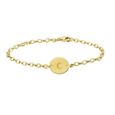 Gouden armband met letter ovaal Names4ever