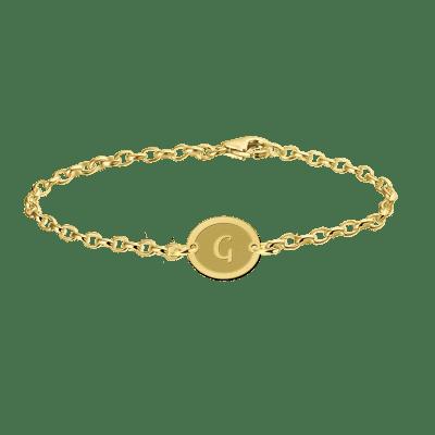 Gouden armband met letter ovaaltje Names4ever
