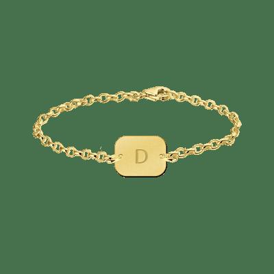 Gouden armband met letter rechthoek Names4ever