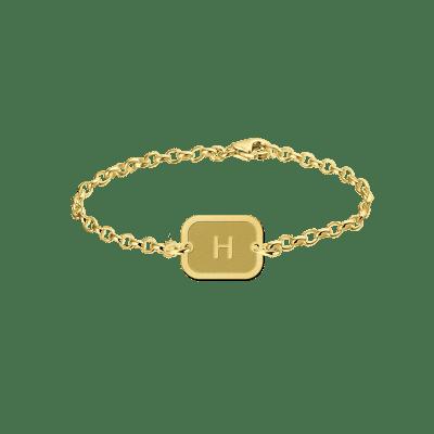 Gouden armband met letter rechthoekje Names4ever