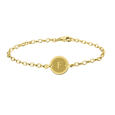 Gouden armband met letter rond Names4ever