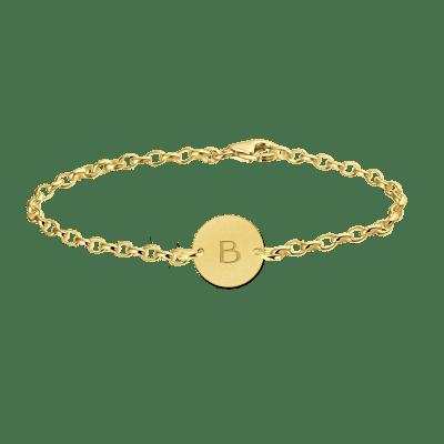 Gouden armband met letter rondje Names4ever