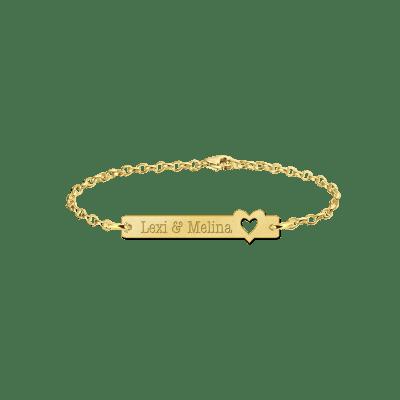 Gouden armband met naam bar hart Names4ever