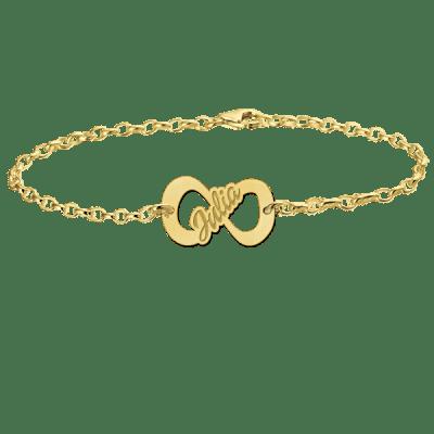 Gouden armband met naam infinity Names4ever