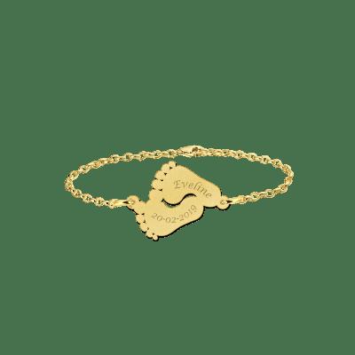 Gouden armband met naam voetjes Names4ever