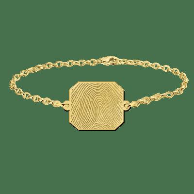 Gouden armband met vingerafdruk rechthoek Names4ever