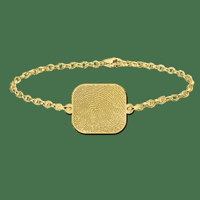 Gouden armband vingerafdruk rechthoek Names4ever