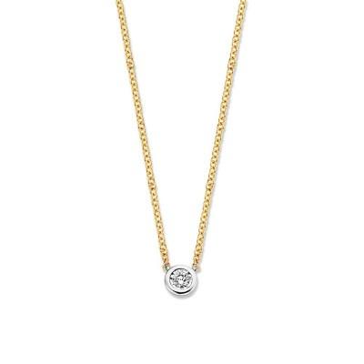Gouden bicolor collier met rond diamanthangertje
