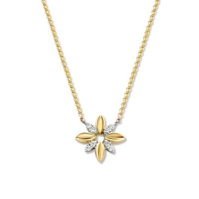 Gouden collier met bloemvormige hanger diamant