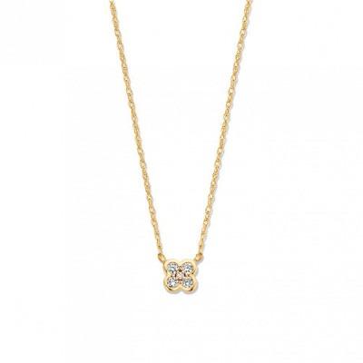 Gouden collier met diamantjes in bloemvorm 42-45 cm