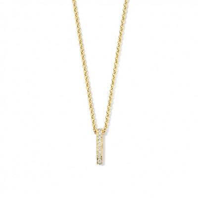 Gouden collier met diamantrij hanger