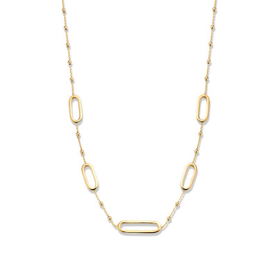 Gouden collier met ovale schakels en bolletjes 45 cm