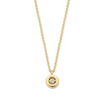 Gouden collier met ronde hanger en briljant