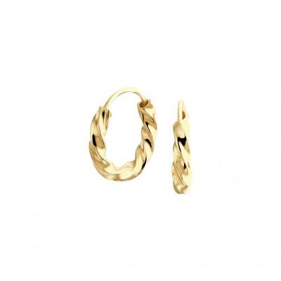 Gouden creolen met gedraaide buis