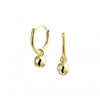 Gouden creolen met hanger bolletjes