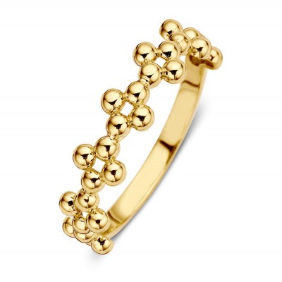 Gouden damesring met bolletjes 5 mm