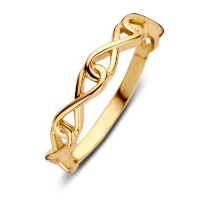 Gouden damesring met infinity-schakels
